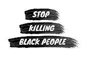 Stop killing black people sign on brushstroke background.