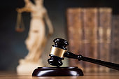 Law wooden gavel barrister, justice concept