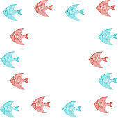 Watercolor underwater marine frame. Fishes isolated on white background. Summer, beach illustration. Hand painting. Elegant design. Perfectly for invitations, cards, menu.