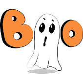 Cute vector illustrations Halloween Cartoon letters Boo and scared ghost Easy for stickers, invitation, icons, print, sublimation for gift, web design Decoration elements isolated on white background.