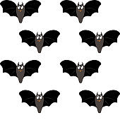 Cute halloween seamless pattern illustration. Isolated on white background. Halloween attributes: cartoon bat. Easy for paper, fabric, textile, invitation cards design.