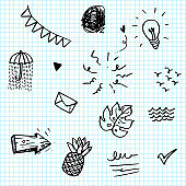 Hand drawn set elements, black on paper background. Arrow, leaf, sun, light bulb, Swishes, pineapple, water, Check mark , umbrella, swoops, emphasis ,swirl,  for concept design.