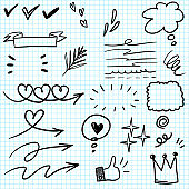 set of Hand drawn design elements. vector illustration.