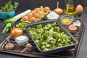Mix broccoli and Brussels sprouts in food metal pallet