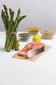 Food sources of omega 3, protein: fresh raw salmon, green peas, asparagus lemon bulgur chickpeas flax