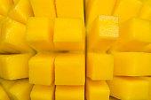 Diced mango chunks. Tropical fruits. Healthy diet Diced mango chunks