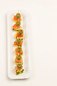 Assortment of canapes with salmon, cheese