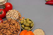 Healthy food for diet and lifestyle. Set of vegetables, beans nuts, quinoa bulgur, chickpeas