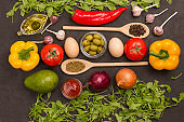 Set of vegetables for a healthy diet, yellow and red peppers