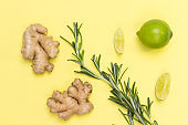 Ginger, rosemary sprig and lime.