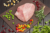 Diet turkey meat with green peas, chopped carrots, beans and corn