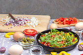 Set of vegetables for healthy eating, yellow and red peppers,
