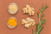 Ginger root, dry ginger, turmeric and rosemary sprig