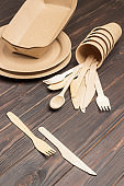 Disposable cardboard dishes, wooden forks and knives.