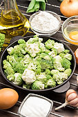 Mix broccoli and Brussels sprouts in pan.