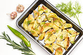 Fried Potato wedges with dill in food metal pallet.