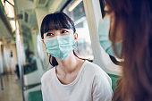 Girls wearing face mask for protection at subway station platform