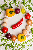 set of vegetables for healthy diet, yellow and red peppers