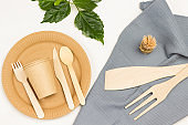 Disposable tableware for picnic, take away food.