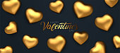 Happy Valentines Day. Awesome black background with realistic 3d glossy golden hearts. Amazing design horizontal red banner with glitter chocolate hearts in gold foil. Vector illustration