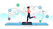 Concept of Smart watch for fitness. Young girl runs on the display of a large smart watch. Healthy sporty lifestyle. Counting calories, heart rate control, count steps and GPS tracking function.
