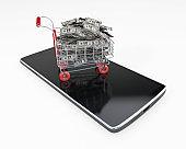 Shopping Cart on a mobile phone full of money 3d rendering