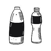 Plastic bottles in engraving style. Hand drawn vector illustation. Black ink.