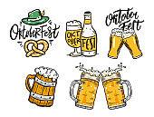 Oktoberfest elements set. Beer, mugs and bottle. Vector illustration.