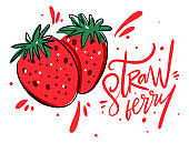 Strawberry banner. Vector illustration and lettering in cartoon style. Isolated on white background.