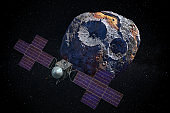 Psyche asteroid in space