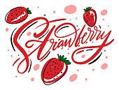 Strawberry poster. Vector illustration and lettering in cartoon style. Isolated on white background.