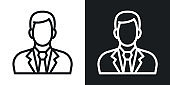 Businessman or business man icon. Man in business suit with tie. Simple two-tone vector illustration on black and white background