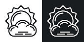 Little cloudy or partly cloudy icon for weather forecast application or widget. Sun behind a small cloud. Two-tone version on black and white background