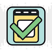 To-do list or checklist app icon for smartphone, tablet, laptop or other smart device with mobile interface. Minimalistic color version on light gray background