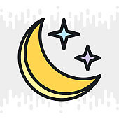 Starry and moonlit sky icon for weather forecast application or widget. Moon and stars in the night sky. Color version on light gray background