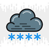 Snow or snowfall icon for weather forecast application or widget. Cloud with snowflakes. Color version on light gray background