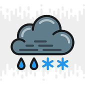Rain with snow or sleet icon for weather forecast application or widget. Cloud with raindrops and snowflakes. Color version on light gray background