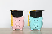 Graduation hat on piggy bank with stack of coins money on white background, Saving money for education concept
