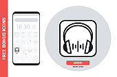 Music player application or headphones icon for smartphone, tablet, laptop or other smart device with mobile interface. Simple black and white version. Contains free bonus icons