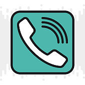 Telephone, phone or calls app icon for smartphone, tablet, laptop or other smart device with mobile interface. Minimalistic color version on light gray background