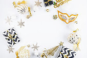 Christmas set with gifts, black, white and gold decorations