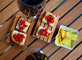 Italian style grilled bread with red sweet pepper