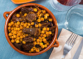 Juicy beef meat stewed with chickpea