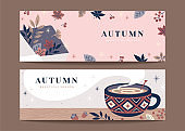 Set of autumn hygge banners