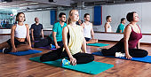 Positive people practicing yoga
