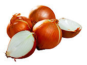 Whole bulbs and halves of raw onion