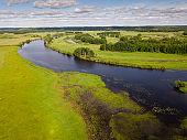 Meadows in floodplain of Oka River