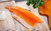 Fresh trout fillet with seasonings