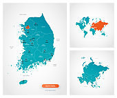Editable template of map of South Korea with marks. South Korea on world map and on Asia map.