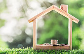 Coin is placed in a model wooden  house. concept the growth of finance. planning savings money of coins to buy a home